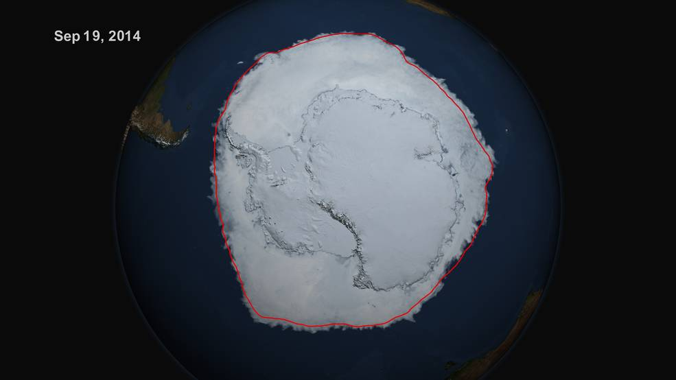 On Sept. 19, 2014, the five-day average of Antarctic sea ice extent exceeded 20 million square kilometers for the first time since 1979, according to the National Snow and Ice Data Center. The red line shows the average maximum extent from 1979-2014. http://www.nasa.gov/
