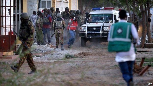 Students evacuate the Garissa University campus. Photo Courtesy of BBC NEWS.