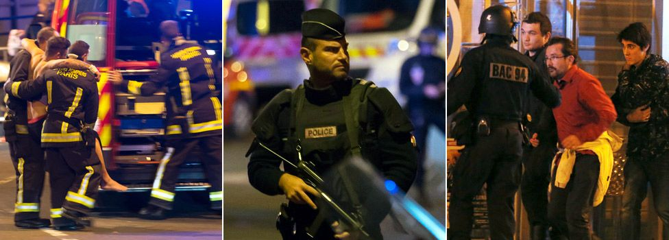 Images of Emergency Personnel responding to Paris attacks. Photos Courtesy of BBC NEWS.