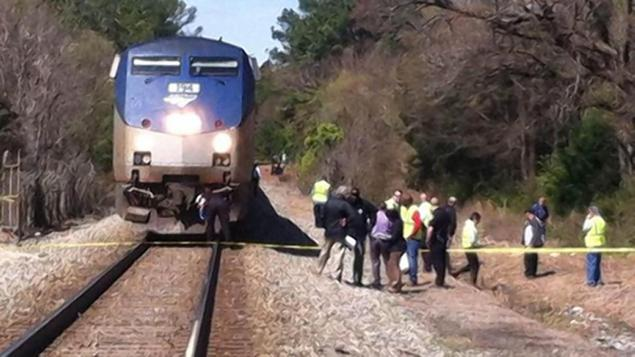 An Amtrak train traveling from North Carolina to New York City fatally struck a marrried couple that was on the tracks in Durham. April 2105. Image Courtesy of nydailynews.com.
