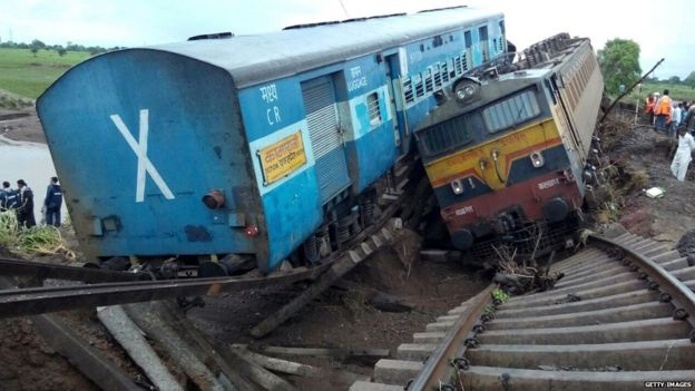 Heavy rain led to flash floods damaging rails, causing two trains to derail in India. August 2015. Image Courtesy of bbc.com.