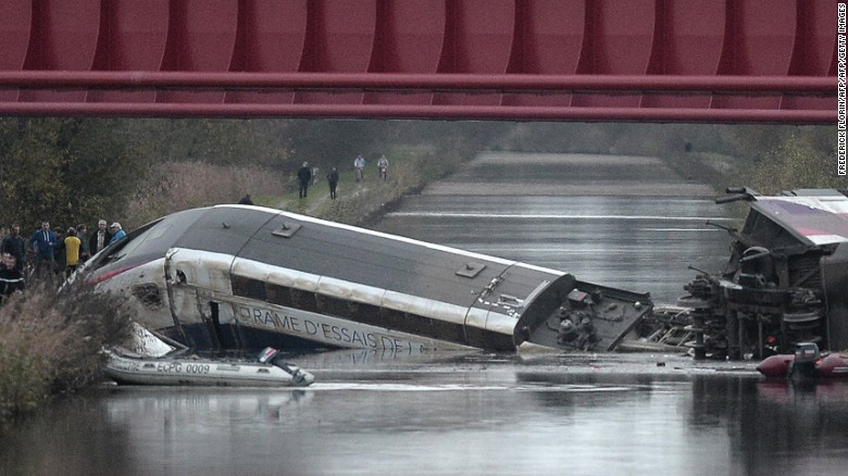 High speed train derails and crashes into canal in France during a test drive. November 2015. Image Courtesy of cnn.com.
