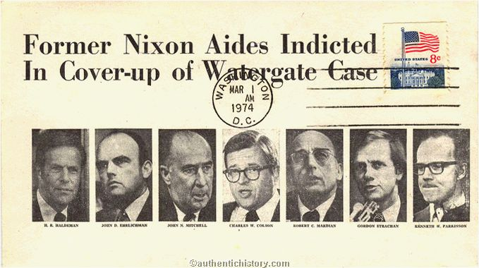 Postal Cover Former Nixon Aides Indicted In Cover up of Watergate Case. Via authentichistory.com.